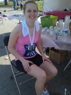 Lara after running 26.2 miles!