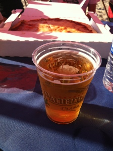 Beer and pizza at the finish line!